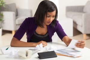lady paying bills