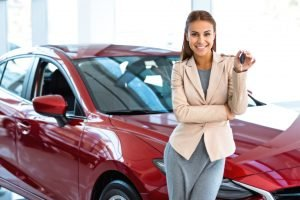 lady buying a new car