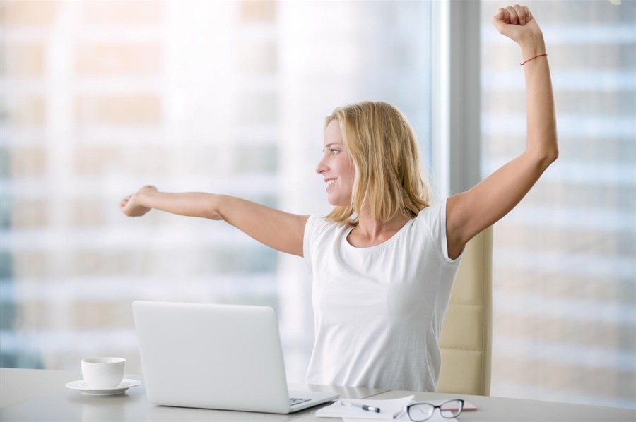 relieved woman