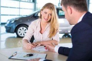woman financing a car